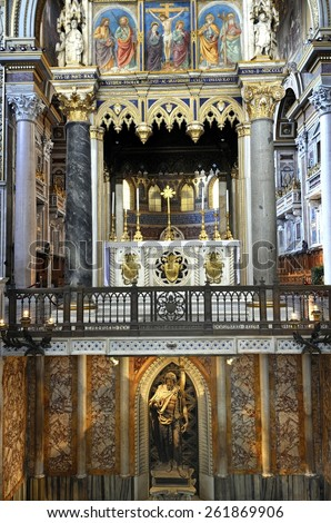 ROME,ITALY-MARCH 9, 2015; Interior of the Basilica din San Giovanni in Laterano.The cathedral church of the Diocese of Rome and the official ecclesiastical seat of s the Pope.March 9, 2015 Rome, Italy - stock photo