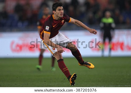 ROME, ITALY - march  2016 :  Perotti in action during fotball match  serie A  League 2015/2016 between A.s. Roma  vs Fiorentina  at the Olimpic Stadium  on march 4, 2016 in Rome.