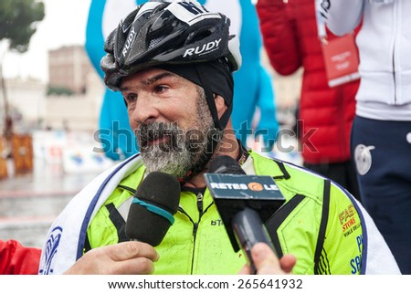 Rome, Italy - March 22, 2015: 21th Rome Marathon. Fabrizio Caselli, the winner of the race handbike, soon after his arrival at the finish line. - stock photo