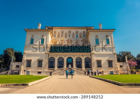 Rome, Italy - 31 March 2014 - The Borges gallery in Rome on a sunny day with clear blue sky above and people visiting.