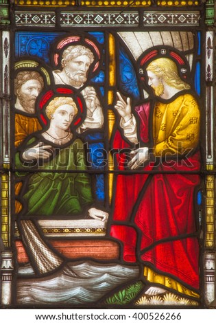 ROME, ITALY - MARCH 9. 2016: The calling of the twelve apostles on the windowpane of All Saints' Anglican Church by workroom Clayton and Hall (19. cent.)