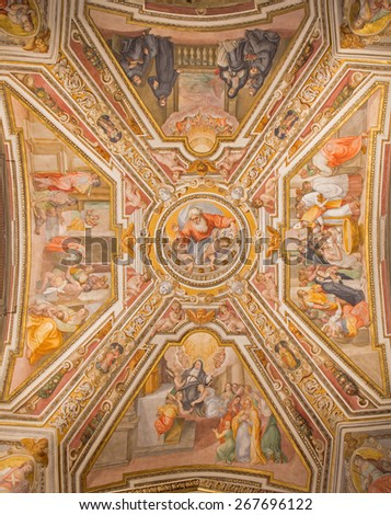 ROME, ITALY - MARCH 27, 2015: The ceiling fresco by G. B. Ricci (1585) in church Chiesa di San Agostino (Augustine) and chapel of st. Monica.  - stock photo