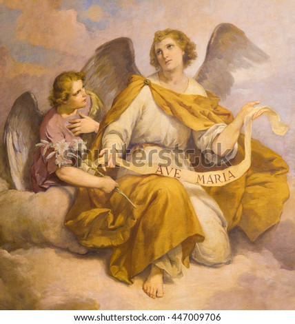 ROME, ITALY - MARCH 9, 2016: The fresco of angels in church Chiesa di Santa Maria in Aquiro (Our Lady of Lourdes chapel) by Domenico d Alessandro (1865).