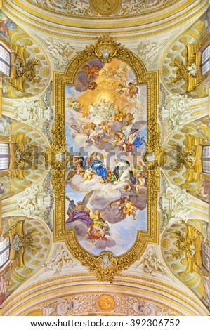ROME, ITALY - MARCH 10, 2016: The fresco of Apotheosis of St Catherine in church Chiesa di Santa Caterina da Siena a Magnapoli by Luigi Garzi (1713).