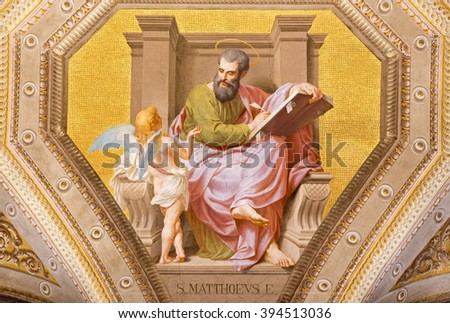 ROME, ITALY - MARCH 9, 2016: The fresco of St. Matthew the Evangelist in church Chiesa di Santa Maria in Aquiro by Cesare Mariani from (1826 - 1901 in neo-mannerist style.