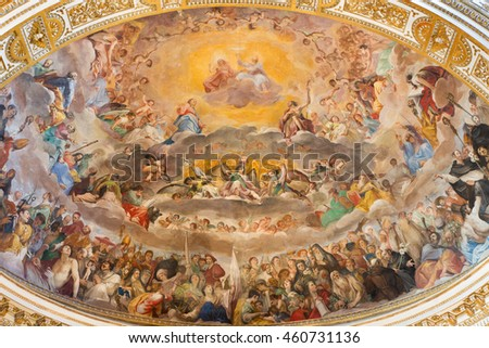 ROME, ITALY - MARCH 12, 2016: The fresco of The Glory of Heaven (1630) in main apse of church Basilica di Santi Quattro Coronati by Giovanni da San Giovanni.