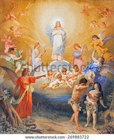 ROME, ITALY - MARCH 27, 2015: The fresco The Expulsion of Adam and Eve from Paradise on the vault of church Basilica di Sant Andrea della Valle by Virginio Monti from end of 19. cent. - stock photo