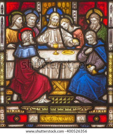 ROME, ITALY - MARCH 9. 2016: The Last Supper on the windowpane of All Saints' Anglican Church by workroom Clayton and Hall (19. cent.)