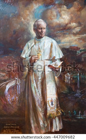 ROME, ITALY - MARCH 9, 2016: The paint of St. John Paul II. in church Basilica di Santa Maria del Popolo by Natalia Tsarkova 2006.