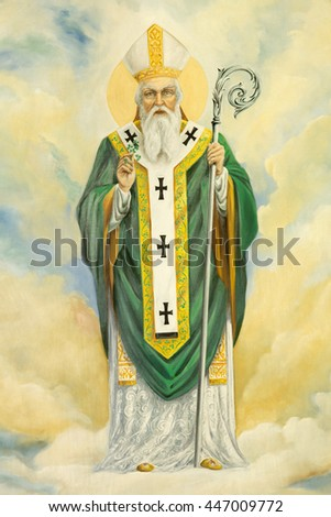 ROME, ITALY - MARCH 10, 2016: The St. Patrick painting in church Basilica di Santa Maria Ausiliatrice by the Salesian priest and artist Don Giuseppe Melle.