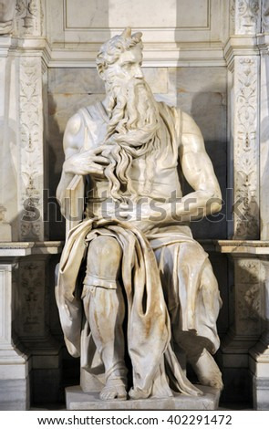 ROME, ITALY - MARCH 16, 2016: The statue of Moses sculpted by Michelangelo is visited daily by crowd of tourists in the San Pietro in Vincoli church - stock photo