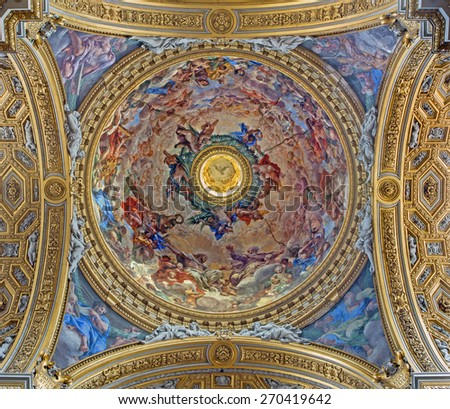 ROME, ITALY - MARCH 26, 2015: The Trinity fresco in cupola of church Chiesa Nuova (Santa Maria in Vallicella) by Pietro da Cortona (painted 1647 - 1651) - stock photo