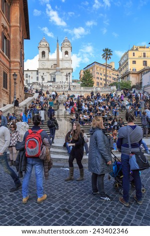 ROME, ITALY - MARCH 7, 2014: Tourists at the world-famous Spanish Steps in Rome, Italy on March 7, 2014. - stock photo