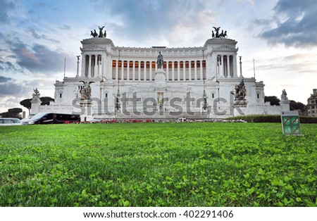 ROME, ITALY - MARCH 16, 2016: Tourists visiting the Altar of the Fatherland (Altare della Patria) known as the Monumento Nazionale a Vittorio Emanuele II or Il Vittoriano in Piazza Venezia - stock photo