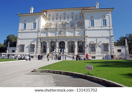 ROME, ITALY - MARCH 09: Villa Borghese (Galleria Borghese) is an art gallery in Rome visited by many tourists. on March 09, 2011 in Rome, Italy