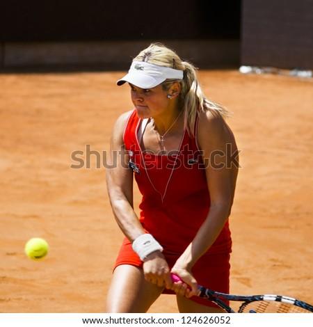 ROME, ITALY - MAY 13: Aleksandra Wozniak playing last qualifying match at Internazionali BNL on May 13, 2012 in Rome, Italy - stock photo