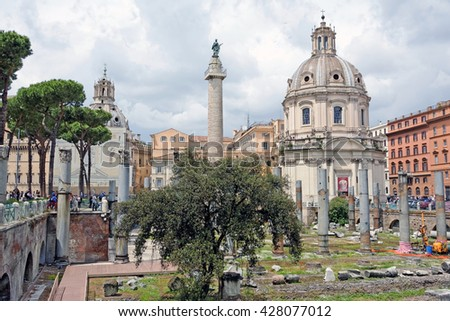 Rome, Italy - May,15.2016 - Church of the Most Holy Name of Mary and the column of Trajan at the Trajan Forum