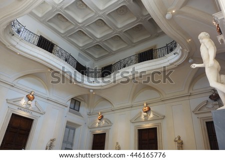 ROME, ITALY - MAY 3, 2015: Corsini Palace art gallery hall interior, public museum in the rione Trastevere