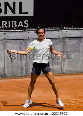 ROME, ITALY - MAY 13: Francesca Schiavone trains at Internazionali BNL on May 13, 2012 in Rome, Italy - stock photo