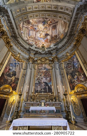 ROME, ITALY - MAY 21 2014: Interior of famous Gesu e Maria church at Corso street The church dates back to 1633. Dome's interior one of the most prominent in Rome.  - stock photo