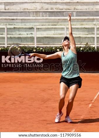 ROME, ITALY - MAY 13: Maria Sharapova trains at Internazionali BNL on May 13, 2012 in Rome, Italy - stock photo