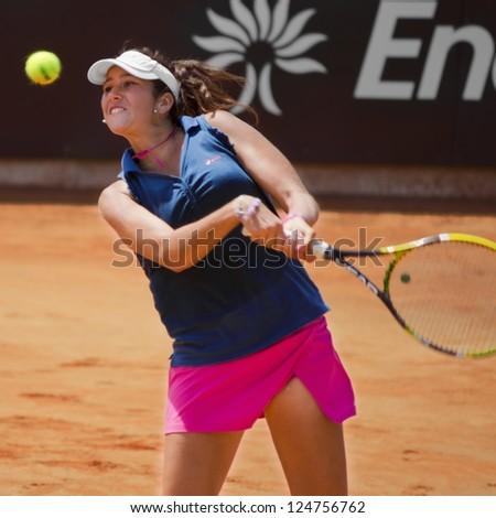 ROME, ITALY - MAY 13: Nastassja Burnett playing last qualifying match at Internazionali BNL on May 13, 2012 in Rome, Italy - stock photo