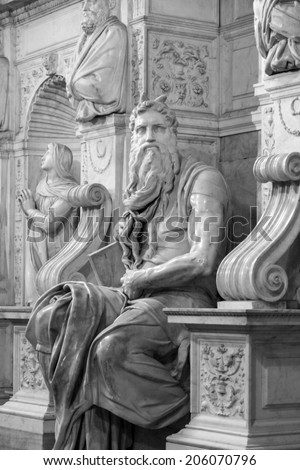 ROME ITALY MAY 21 2014:   One of the most famous sculptures in the world - Moses by Michelangelo, located in San Pietro in Vincoli basilica. It is a lesser know Michelangelo masterpiece. - stock photo