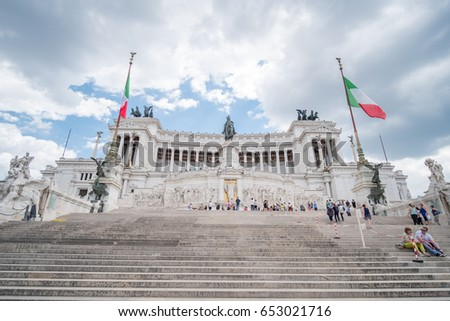 Rome, Italy 16 May 2017 : People around Altar of the Fatherland or Altare della Patria, known as National Monument to Victor Emmanuel II