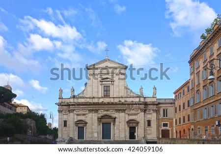 ROME, ITALY - MAY 1, 2016: Santa Maria della Consolazione, Roman Catholic church in rione Campitelli at the foot of the Palatine Hill - stock photo