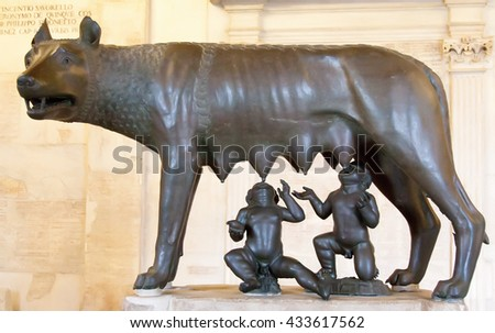 ROME, ITALY - MAY 11, 2016: Sculpture of a mother-wolf feeding Romulus and Remus in the Capitoline Hill.