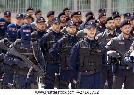 Rome, Italy - May 25, 2016: Special departments of the Italian police, deployed during the celebrations for the 164th anniversary of the State Police.