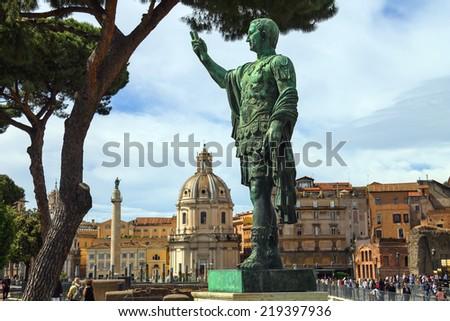 ROME, ITALY - MAY 04, 2014: Statue of Emperor Marcus Nerva  in Rome, Italy - stock photo