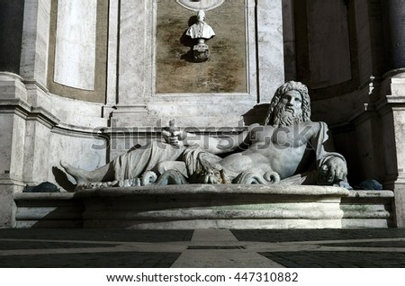 "ROME, ITALY - MAY 16, 2015: the fountain of Marphurius at night, one of the ancient Roman ""talking statues"" on the Capitoline Hill"