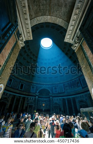 ROME, ITALY - MAY 9, 2014: The light ray in Pantheon. Pantheon is a famous monument of ancient Roman culture, the temple of all the gods, built in the 2nd century.