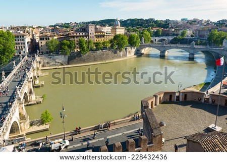 ROME, ITALY - MAY 9, 2014: View of Rome from Castel Sant`Angelo. - stock photo