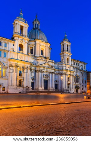 Rome, Italy. Night view of Sant Agnese Church in Piazza Navona, city square built on the site of the Stadium of Domitian.