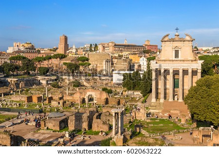 ROME, ITALY - NOV 11, 2016: Ruins of the Roman Forum: the temple of the deified Julia, the temple of Vesta, the temple of Antoninus and Faustina