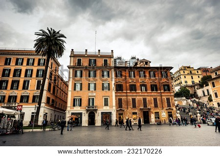 Rome, Italy - November 17, 2014: Piazza di Spagna, is one of the most famous squares of Rome. It owes its name to the palace of Spain, Embassy of the Iberian is here/ - stock photo