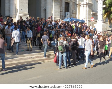 ROME, ITALY - NOVEMBER 3, 2014: Protest in front of the MIUR,Ministry of Education Universities and Research, against the failure in Organize an open competitive exam for Medicine specialization