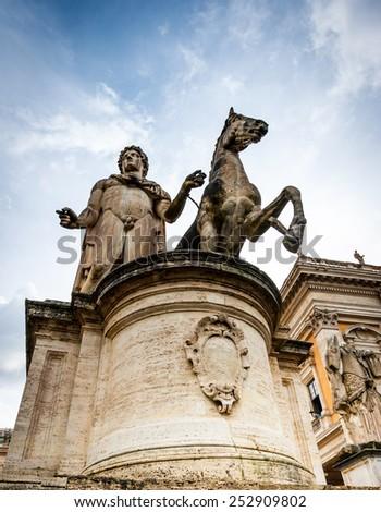 Rome, Italy - November 17, 2014:  Statue un a  Piazza del Campidoglio in Roma, Italy - stock photo