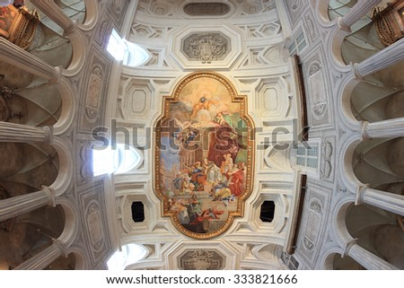 """ROME, ITALY - OCTOBER 8, 2015: ancient church of Saint Peter in Vincoli, The fresco"""" Miracle of the Chains""""  in the center of the coffered ceiling by Giovanni Battista Parodi (1706). - stock photo"""