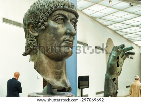 ROME, ITALY - OCTOBER 3, 2012: Fragments of a bronze statue of Constantine the Great in the Capitoline Museum.