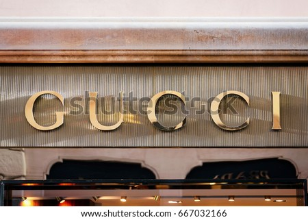 Rome, Italy - October 14, 2016: Gucci Sign on street shop window, Rome, Italy.