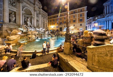 ROME, ITALY - OCTOBER 5, 2012: The famous Trevi Fountain at night. This place is one of the most visited in Rome. - stock photo