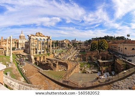 ROME, ITALY - OCTOBER 25: The Roman Forum in Rome on OCTOBER 25, 2009. The Roman Forum and ruins of ancient city in Rome, Italy.