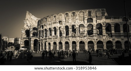 ROME, ITALY - OCTOBER 30: Tourists take a tour of the famous Colosseum in Rome, Italy on October 30, 2014. - stock photo