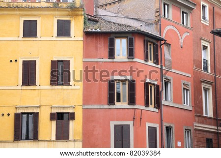 Rome, Italy. Old windows, Italian architecture feature.
