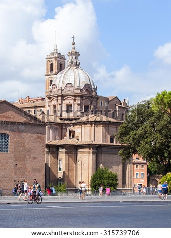 ROME, ITALY, on AUGUST 25, 2015. A basilica Santa di Loretto - one of the most known cathedrals of Rome