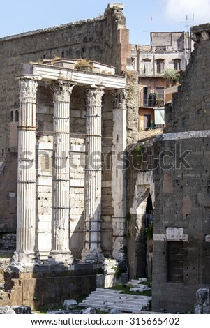 ROME, ITALY, on AUGUST 25, 2015. Ruins of antique buildings.