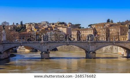Rome, Italy, on March 6, 2015. A view of embankments of Tiber and the bridge through the river